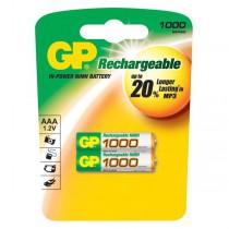 Baterie nabíjecí GP, AAA, 1,2V, 1000mAh NiMH, 2ks