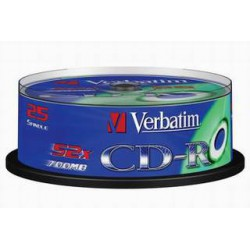 CD-R Verbatim 700 MB DataLife, 52x, Cake Box 25 ks