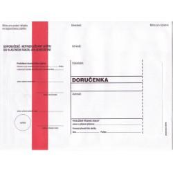 Doručenka B6, 125x176, červený pruh, olizová, 1000 ks