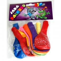 Balonky nafukovací s různobarevné s potiskem, sada 9ks, 1002