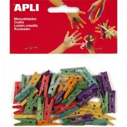 Dřevěné kolíčky 45 ks, barevné