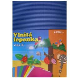 Vlnitá lepenka E-Welle 260g 34,5x24,5cm, modrá - rovná
