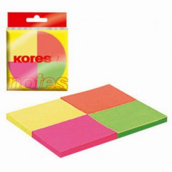 Samolep. bloček, 50x40mm, 4 NEON barvy x 50 listů, KORES