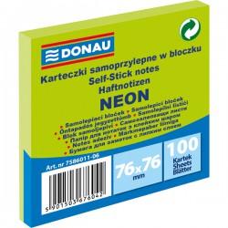 Samolep. bloček, 75x75mm, 100 listů, neon zelený, Donau