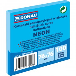 Samolep. bloček, 75x75mm, 100 listů, neon modrý, Donau