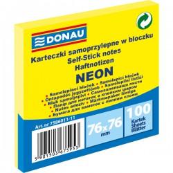 Samolep. bloček, 75x75mm, 100 listů, neon žlutý, Donau