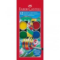 Barvy vodové, 12 barev, průměr 30mm, Faber Castell