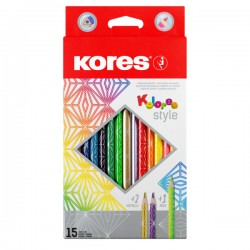 Pastelky Kores Kolores Style, 15 barev