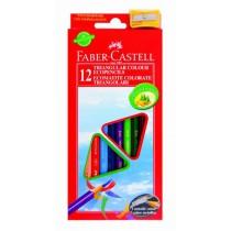 Pastelky, tenké 12 barev, trojhranné + ořez. Faber Castell