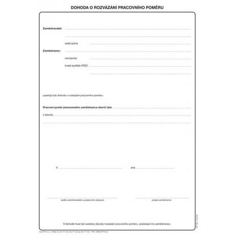 Dohoda o rozvázání pracovního poměru A4, Op-135