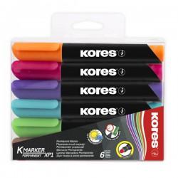 Popisovač Kores K-marker XP1, permanentní, sada 6 barev