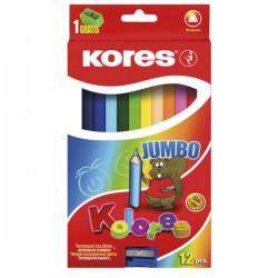 Pastelky Kores 12 barev, trojhranné silné Jumbo