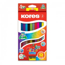 Pastelky Kores 24 barev, oboustranné trojhranné silné Jumbo