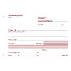 Příjmový pokladní doklad, NCR, mSk-49, nečíslovaný