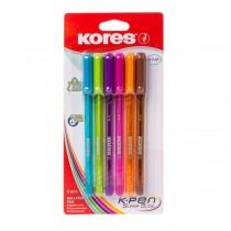 Jednorázové kuličkové pero KORES K1, sada 6 barev