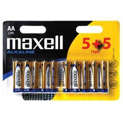 Tužk.baterie 1,5 V Maxell Alkalická, AA, LR6, 10 ks