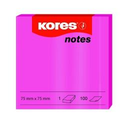 Samolep. bloček, 75x75mm, 100 listů, NEON růžový, Kores