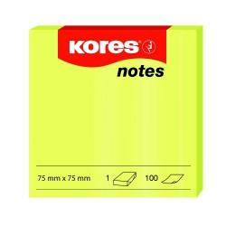 Samolep. bloček, 75x75mm, 100 listů, NEON žlutý, Kores