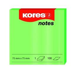 Samolep. bloček, 75x75mm, 100 listů, NEON zelený, Kores