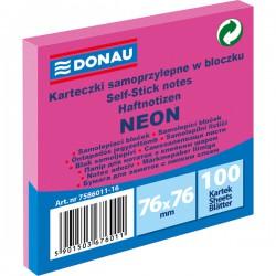 Samolep. bloček, 75x75mm, 100 listů, neon růžový, Donau