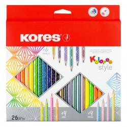 Pastelky Kores Kolores Style, 26 barev