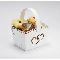 Svatební košíček bílý - srdce, MINI, 10 ks