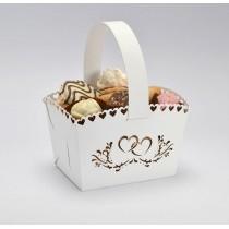 Svatební košíček bílý - srdce, MALÝ, 10 ks