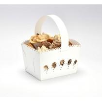 Svatební košíček bílý - růže, MALÝ, 10 ks