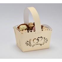 Svatební košíček krémový - srdce, MALÝ, 10 ks