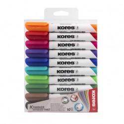 Popisovače Kores K-marker na bílé tabule, sada 10 barev