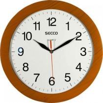 Hodiny nástěnné SECCO 28 cm, vzor dřevo, kulaté