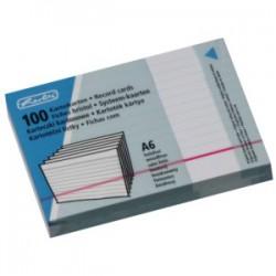 Lístkovnicové karty A6 linkované, bílé, 100 ks, Herlitz