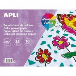 Lakovaný papír 85g, blok 10 listů, mix barev