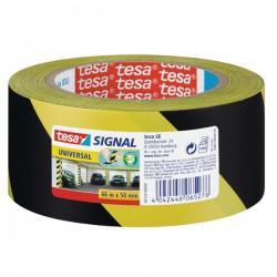 Lepící páska Tesa 50mm x 66m, žluto-černé pruhy, výstra