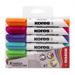 Popisovače Kores K-marker na bílé tabule, sada 6 barev
