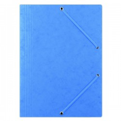 Odkládací mapa A4, prešpán, 3 klopy, gumička, modrá