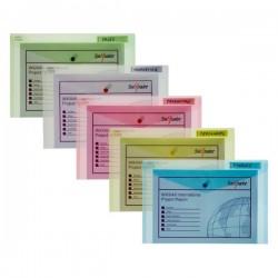 Desky A4, klopa + patentka, transparent, sada - 5 barev