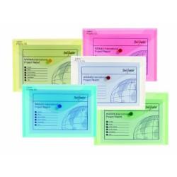 Desky A5, klopa + patentka, transparent, sada - 5 barev