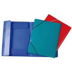 Desky A4, 3 klopy + gumičky, neprůhledné, modré