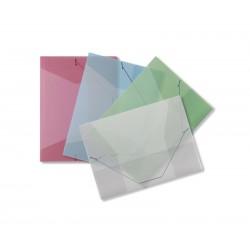 PP desky A4, 3 klopy + gumičky, transparent, zelené