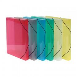 Krabice na spisy PP, gumičky, transparent, modrá