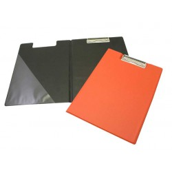 Dvojdesky na spisy A4, s klipem, plast, červené