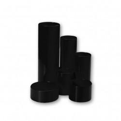Stojánek, 6 kulatých komínků, různé výšky, černý