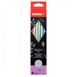 Dřevěná tužka Kores Grafitos Style Metallic s pryží, 6ks