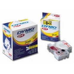 DYMO D1 40915, 9mm x 7m, červený tisk/bílá páska