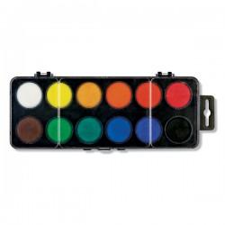 Barvy vodové, 12 barev, průměr 30 mm