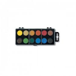 Barvy vodové, 12 barev, průměr 22,5 mm