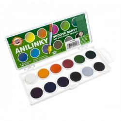 Barvy vodové BRILIANT, 22.5 mm,12 barev, anilinové