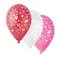 Balonky nafukovací s potiskem - srdce, sada 6ks, 2010
