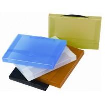 Krabice s uchem plastová, 26x35x3.5, průhl. žlutá
